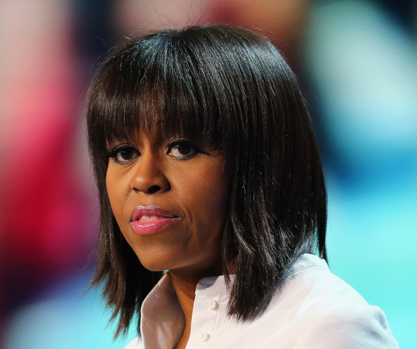 Michelle Obama's Straight Cut with Bangs