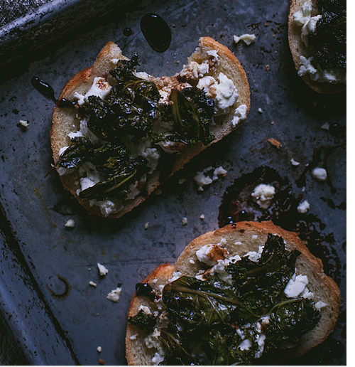 Sauteed Kale And Goat Cheese Crostini With A Balsamic Reduction