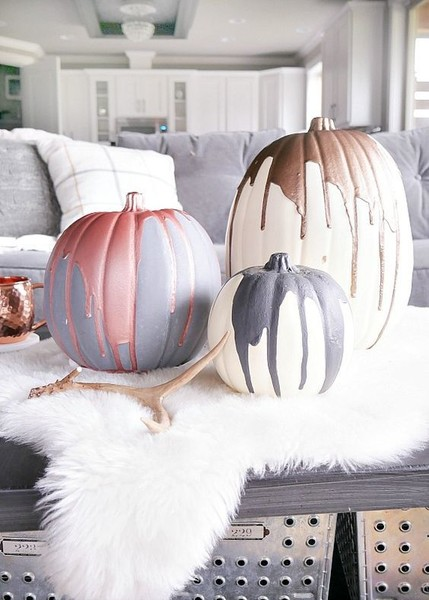 Metallic Drip Pumpkins