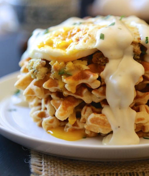 Thanksgiving Waffles With Eggs & Gravy